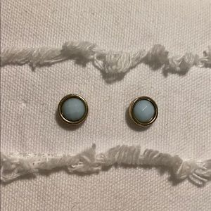Light blue and gold stud earrings